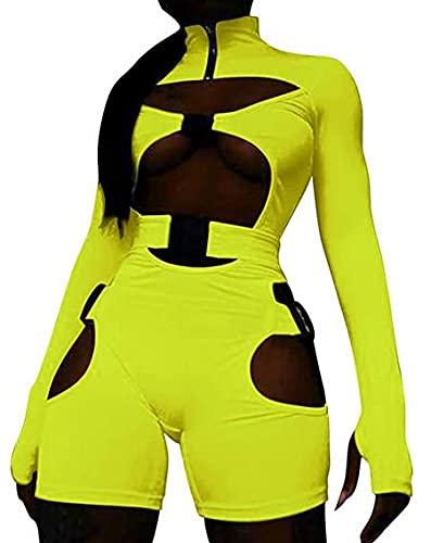 Eghunooye Mameluco sexy para mujer con diseño de bodycon hueco de manga larga para motorista corto Clubwear 90s E-Girl Y2K Streetwear, amarillo, M
