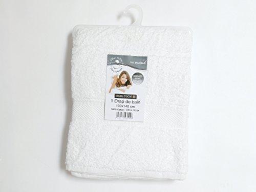 Soleil d'ocre 443100 Douceur Drap de Bain Coton Blanc 100 x 140 cm