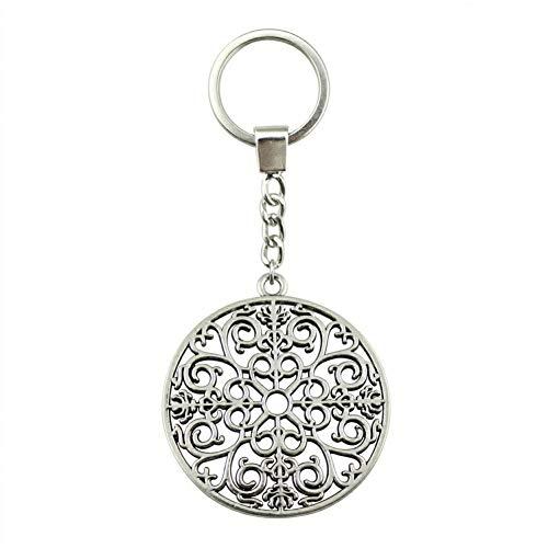 N/ A antiek zilver 49x44 mm mandala-patroon sleutelhanger mode handgemaakte metalen sleutelring party geschenk