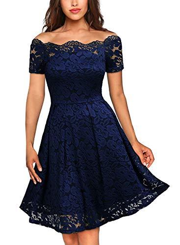 MIUSOL Damen Vintage 1950er Off Schulter Cocktailkleid Kurzarm Retro Spitzen Schwingen Pinup Rockabilly Kleid Dunkelblau S