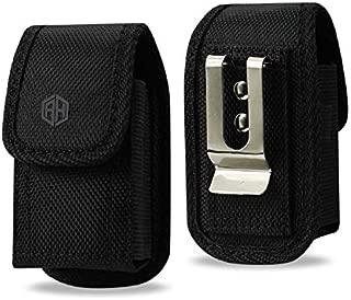 AccessoryHappy Premium Military Grade Canvas Belt Case, Small Rugged Pouch Belt Clip Holster Nylon Metal Clip Flip Phone Belt Case Fits Most Small FLIP Phones & CAR Key FOB