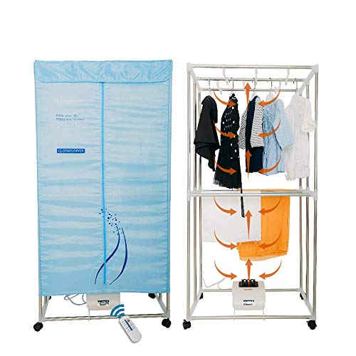 Concise Home Electric Clothes Dryer 1000W Large Capacity 15kg Double layer Stainless Steel Remote Control Energy-Efficient Indoor Wet Laundry Warm Air Drying Wardrobe