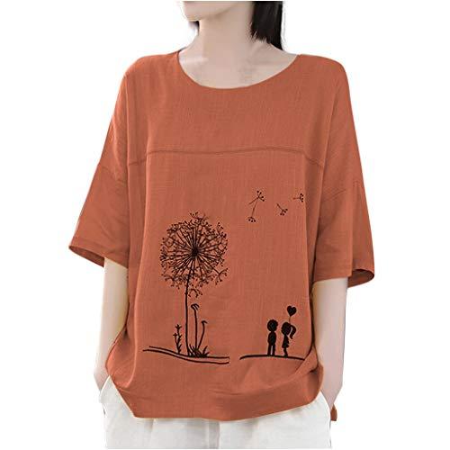 EUZeo Damen Elegant Druken T-Shirts Bettwäsche aus Baumwolle Tops Frauen Übergroß Tees Halber Ärmel Sommer Shirts Tunic Oberteil Streetwear