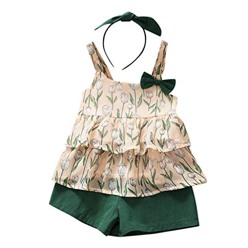YWLINK 3PC Mezcla De Algodon Ropa De NiñOs Top Camisola Estampado TulipáN Camiseta+Pantalones Cortos De Color SóLido+Banda De Pelo Vestido De Fiesta(Verde,3-4 años/120)