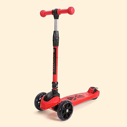 Rishx Scooter de Cuatro Ruedas con Rueda de Destello de PU Fresco Resistente al Desgaste Plegable rápido Patinador de Retroceso de Altura Ajustable Scooter de dirección Flexible for niños/niñas/ni