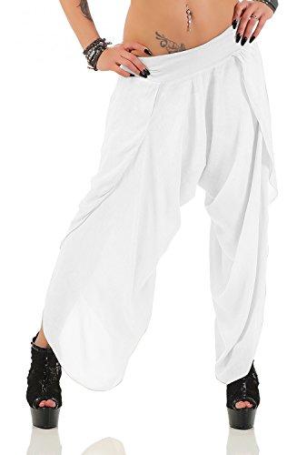 Damen Harem Aladin Pump Hose Hosenrock (No 540) (Einheitsgröße für Größen 36-42, Weiß)