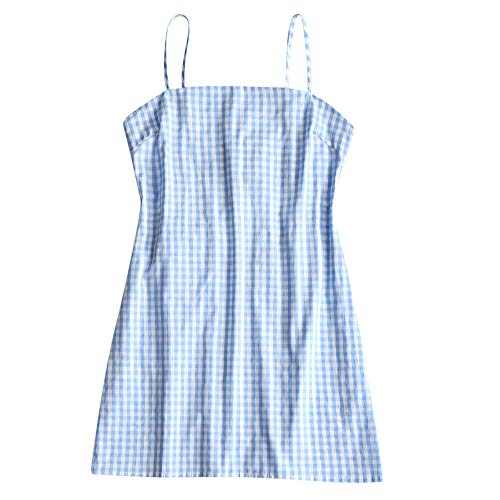 ZAFUL Women's Mini Dress Adjustable Spaghetti Straps Sleeveless Knotted Plaid Back Checkered Dress Checked-C S