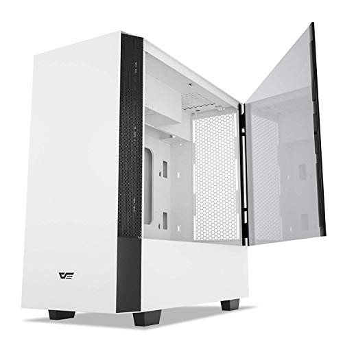 darkFlash V22 White Mid Tower Computer Case ATX Micro ATX Mini ITX M-ATX with Magnetic Design Wide Open Door Opening Swing Type Tempered Glass Side Panel w/Vertical Graphics Card Installation