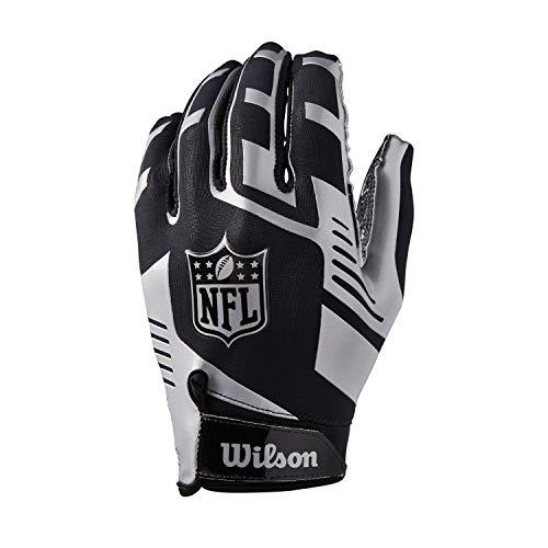 Wilson American Football Receiver-Handschuhe NFL STRETCH FIT RECEIVERS GLOVE, Einheitsgröße, schwarz/Silber, WTF930700M