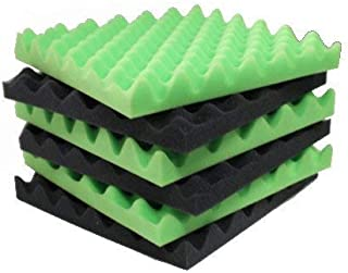 6 Pack Green/Charcoal egg crate foam acoustic foam tiles soundproofing foam panels sound insulation soundproof foam padding sound dampening Studio sound proof padding 1.5