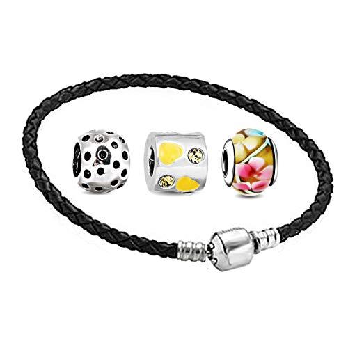 AKKi jewelry Charm Beads Armband und 3 Anhänger Set - Murano Glas bettelarmband Pandora Style kompatibel Damen Schmuck