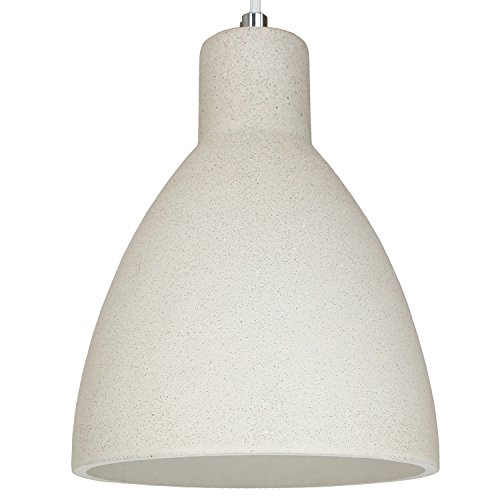 Beton-Lampe Beton-Leuchte LED E27 Pendel-Lampe Hänge-Leuchte LONDON (Farbe: Beton-Hell) Vintage Industrieleuchte Wohnzimmerlampe Modern Betonfassung mit Textilkabel - Ohne Leuchtmittel