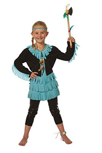 Indianer-Kostüm Kinder Mädchen Schwarz mit Fransen Türkis Indianer-Kleid Adler Falke Apache Karneval Fasching Hochwertige Verkleidung Größe 140 Schwarz/Türkis