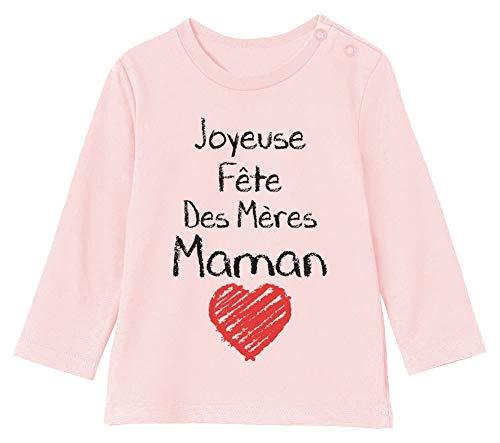 Joyeuse Fête des Mères Maman Cadeau Maman T-Shirt Bébé Unisex Manches Longues 3-6M 60/66cm Rose Pale