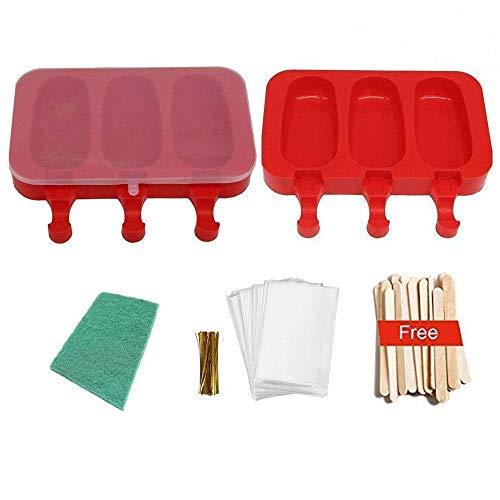 2er-Pack von Eis Eis am Stiel-Formen, Silikonformen Ice Lolly Bpa Free mit Stöcken und Scheuern Pad rot