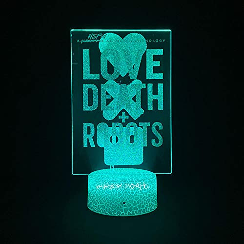 Lámpara de ilusión 3D Luz de noche LED Love Death Robot que cambia de color Decoración de habitación inteligente Anime Fans Regalo Juguetes para niños