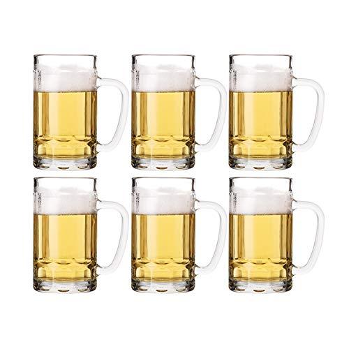 DALIZHAI2021 Gafas de Cerveza con Mango Ideal Cerveza Copa de Vidrio Taza de Bebidas Tumblers Ideal para Las Copas Reutilizables de la Fiesta (Style : F)