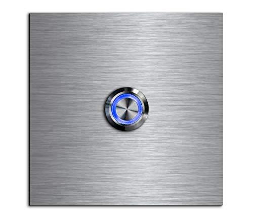 CHRISCK design - Edelstahl Türklingel Basic 9x9 cm quadratisch mit einem Klingel-Taster/LED Beleuchtung und schönen Dekorplatten aus Acrylglas Namensschild/Klingelplatte