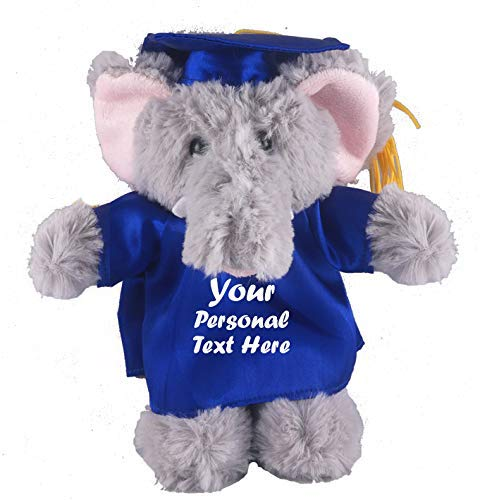 Plushland Plush Stuffed Animal Toys 8 Inches Present Gifts for Graduation Day, Personalized Text, Name or Your School Logo on Gown, Best for Any Grad School Kids (Graduation Elephant Blue Gown)