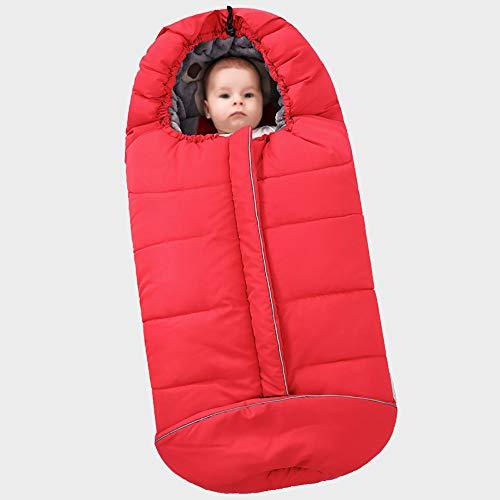 Baby kinderwagen slaapzak - veiligheid combinatie van kinderwagen en slaapzak, baby uitgaan in de herfst en winter om warm te blijven, dubbelzijdig koraal fleece Rood