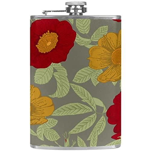 Bellissimi fiori rossi, bottiglie per bevande spiritose portatile in acciaio inox 8 Fl Oz a prova di perdite per conservare whisky con imbuto
