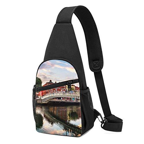 Dublin Ireland Ha Penny Bridge Sunset River Landscape Sling Bapa,Travel Hiking Shoulder Bag Men's Casual Chest Bag