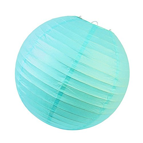 SUNBEAUTY Pack of 5 12inch Aqua Blue Chinese Round Paper Lanterns for Party Wedding Baby Shower Event Decorations (Aqua Blue)