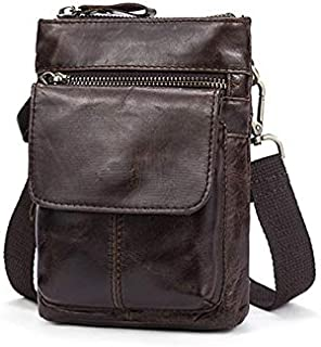 FYXKGLan Men's Genuine Leather Vintage Cowhide Flip Single Shoulder Bag (Color : Oil Coffee)