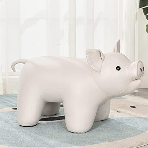 WXXSL Poggiapiedi a Forma di Animale, Sgabello Giocattolo per Bambini Ottomano Decorative Sedie, Tessuto Eco-Tech Facile da Mantenere,Bianca,Pig