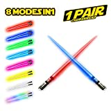 LIGHTSABER CHOPSTICKS LIGHT UP STAR WARS LED Glowing Light Saber Chop Sticks REUSABLE Sushi Lightup Sabers 8 COLORS MODES 1 Pair