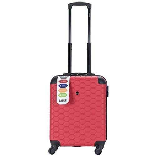 Maleta de Viaje de plástico ABS con Ruedas y Ruedas para Equipaje de Cabina, Bolsa de Transporte con Cierre TSA Rojo (Red Hexagon) Cabin