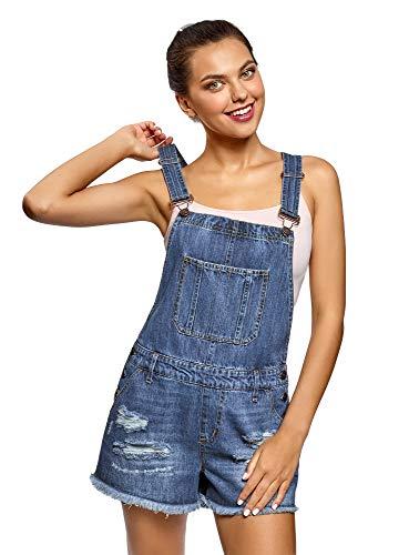 oodji Ultra Damen Kurze Jeans-Latzhose mit Zierknöpfen, Blau, DE 32 / EU 34 / XXS