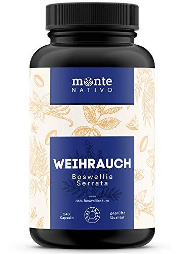 Weihrauch Extrakt MonteNativo – 240 Kapseln (85% Boswelliasäure) | Hochdosiert mit 1240 mg Weihrauchextrakt je Tagesportion | Boswellia Serrata Weihrauch aus Indien, hergestellt in Deutschland
