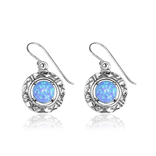 SHABLOOL Pendientes de plata de ley 925 con cabujón azul claro ópalo piedra clara cielo regalo adolescente mujer cumpleaños un regalo para el día de la madre hermoso detalle fino joyería hecha a mano