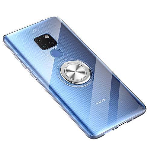 Huawei Mate 20 Lite Hülle Huawei Mate 20 Pro Silikon-Weiche Handyhülle Stoßfest Kickstand 360 Grad Handy Backcover Magnetische Autohalterung Anti-Rutsch Schutz (Durchsicht, Mate 20 Pro)