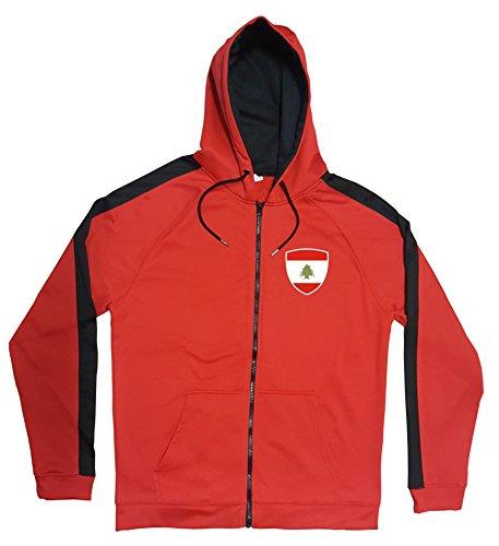 Libanon Jacke Sweater Rot JA GO Lebanon Trikot Look Zip Nation Fussball Sport (M)