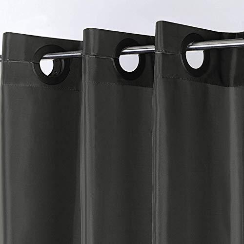 Furlinic Schmaler Duschvorhang für Eck Dusche Kleine Badewanne Badvorhang aus Stoff Schimmelresistent Wasserdicht Waschbar Schwarz 120x210 mit Groß Ösen.