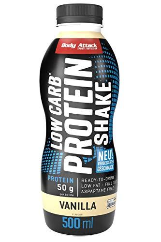 Body Attack Low Carb Protein Shake, Milch-Eiweiß, Fertigdrink in 500ml Flasche, Vanilla (1 x 500ml)