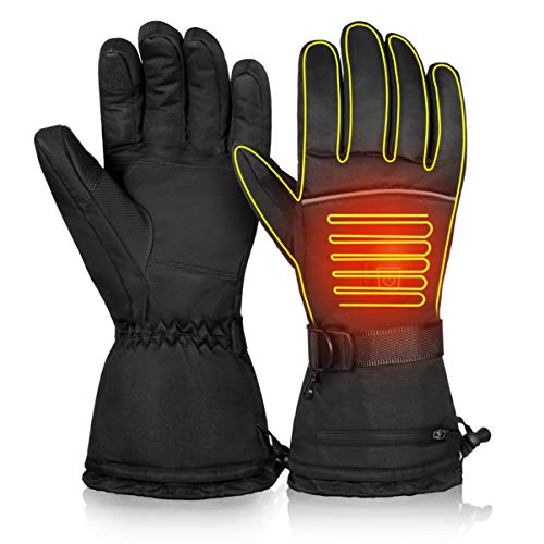 CLISPEED Winter Electric Heated Gloves Thermal Hand Warmers Touch Screen Ski Gloves for Women Men Cold Weather Skiing Snowboarding (M)