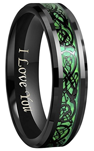 CROWNAL 6mm 8mm Blue/Green Carbon Fiber Black Celtic Dragon Tungsten Carbide Wedding Band Ring Engraved I Love You (8mm,10)