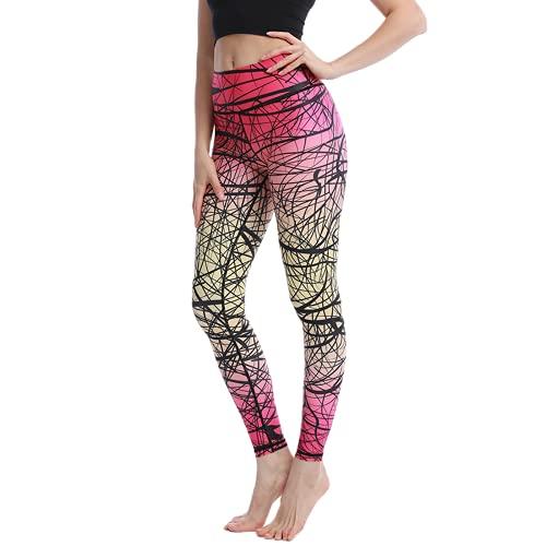 QTJY Línea de Moda Pantalones de Yoga Pantalones de chándal de Cadera melocotón Femenino Coloridos Leggings Deportivos de Cintura Alta Pantalones de Yoga para Correr C S