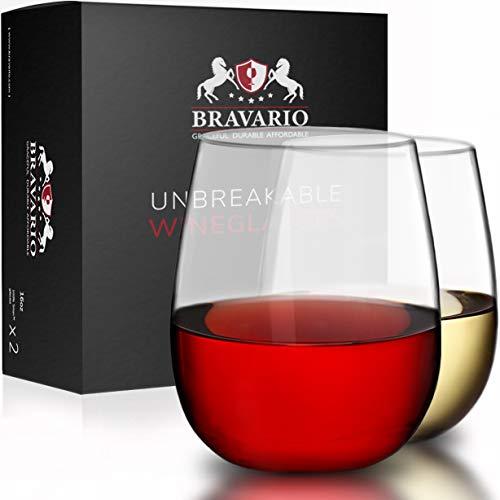 Bravario Unbreakable Stemless Plastic Wine Glasses | Shatterproof 100% Tritan | Dishwasher-Safe | BPA-free | Awesome for Indoor Outdoor | 16 oz, Set of 2