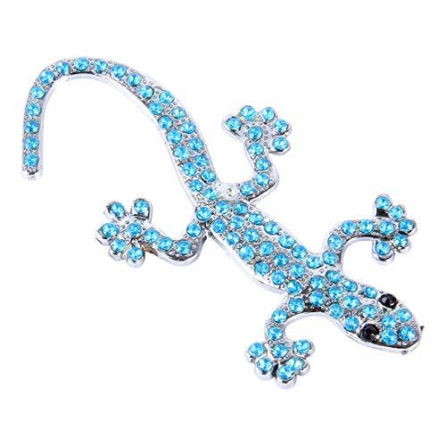 Calcomanías adhesivas corporales Decoración del automóvil Etiquetas de la etiqueta de la pared del coche 3D del coche Forma de textura de metal Gecko con diamante azul, adecuado para la mayoría de los