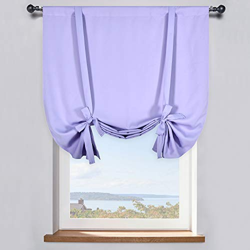 DONREN Lavender Purple Balloon Shades Room Darkening Curtain - Adjustable Thermal Insulated Tie Up Curtain Panel for Kitchen (42 W x 45 inches Long,1 Panel)