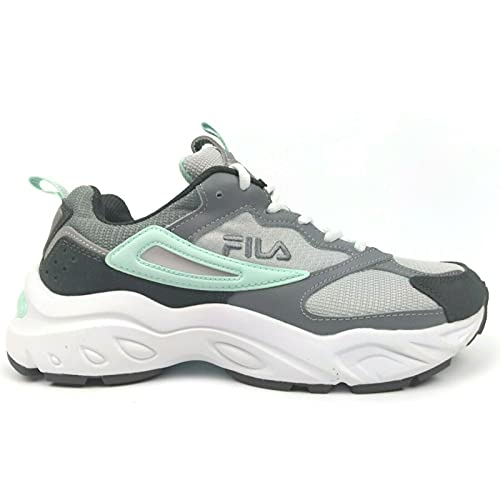 Fila Women's Recollector Leather Mesh Sneaker Walking Shoe (Grey/White/Mint, Numeric_7_Point_5)
