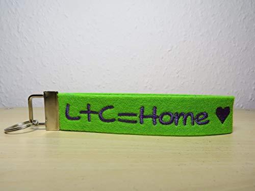 Schlüsselanhänger mit Namen oder Spruch - individuelle bestickt - Glücksbringer - Schlüsselband - Home - Geschenk