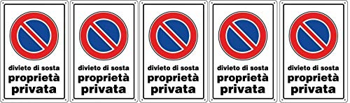 CARTELLO DIVIETO DI SOSTA Proprietà privata 30 x 20 cm in PVC (5)