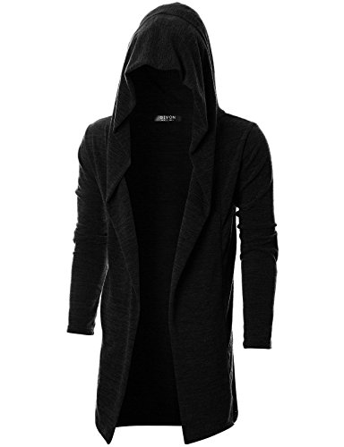 GIVON Mens Long Sleeve Draped Lightweight Open Front Longline Hooded Cardigan with Pocket/DCC255-BLACK-L