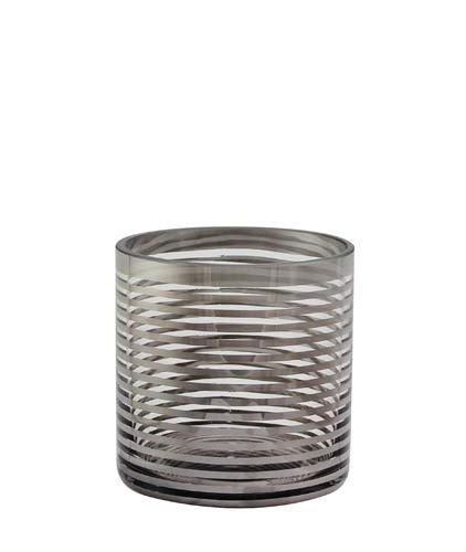 Kaheku Teelichthalter Glas Zylinder Windlicht Vase Pairas Silber modern d10 h10 cm