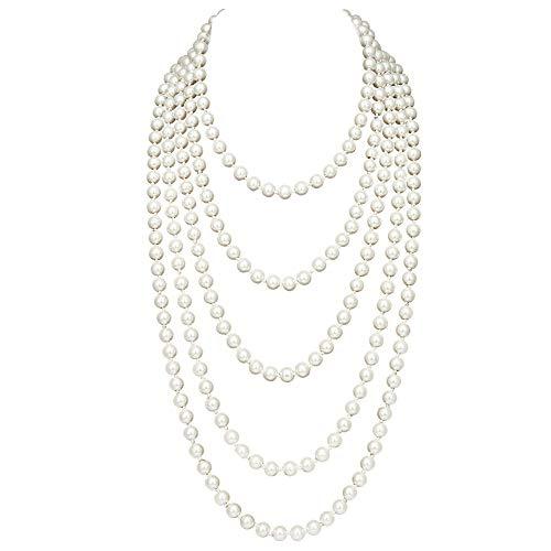 Coucoland 1920s Flapper Necklace Vintage Faux Pearl Necklace Roaring 23s Gatsby Long Pearl Necklace Accessories(1.5m+1.5m/White)